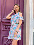 Женское платье с поясом и открытыми плечами (в расцветках), фото 7