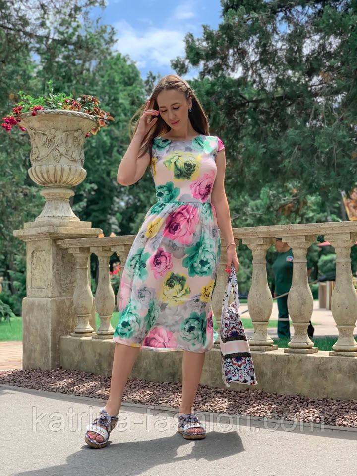 Женское платье с цветочным принтом (в расцветках)