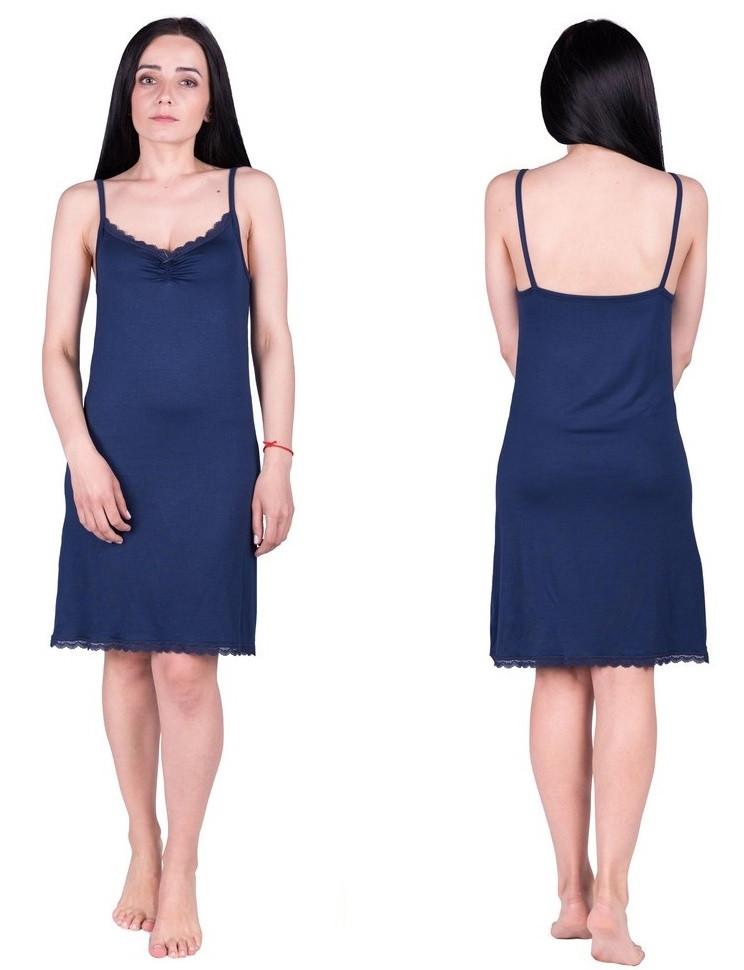 Ночная сорочка с кружевом женская из вискозы ночнушка трикотажная, синяя