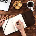 Кожаный блокнот ежедневник темно-коричневый с ручкой 17.6*13.5 см, фото 6