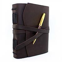 Кожаный блокнот ежедневник темно-коричневый с ручкой 17.6*13.5 см