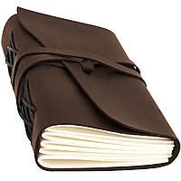 Кожаный блокнот ежедневник коричневый 17.6*13.5 см
