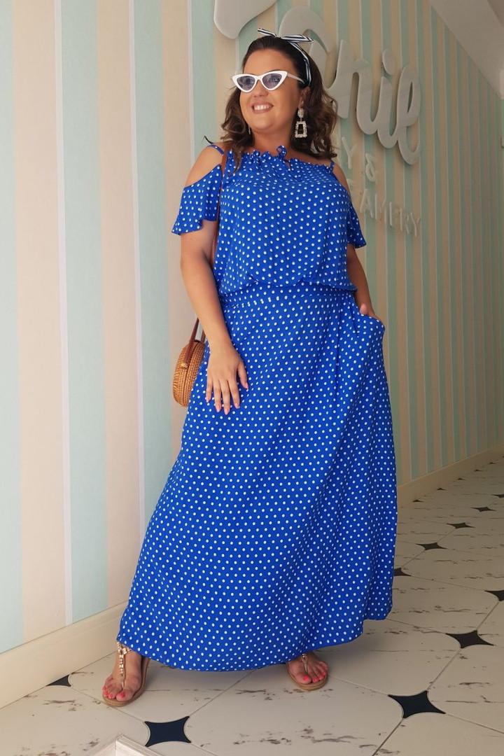 Платье женское длинное из штапеля с карманами в горошек (К28090)