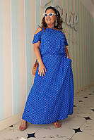 Платье женское длинное из штапеля с карманами в горошек (К28090), фото 1