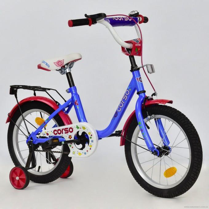 """Велосипед 16"""" дюймов 2-х колёсный С16030 """"CORSO"""" (1) ГОЛУБОЙ, ручной тормоз, звоночек, сидение с ручкой, доп. колеса, СОБРАННЫЙ НА 75% в коробке"""