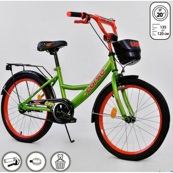 """Велосипед 20"""" дюймов 2-х колёсный G-20979 """"CORSO"""" (1) ручной тормоз, звоночек, мягкое сидение, СОБРАННЫЙ НА 75%, в коробке"""