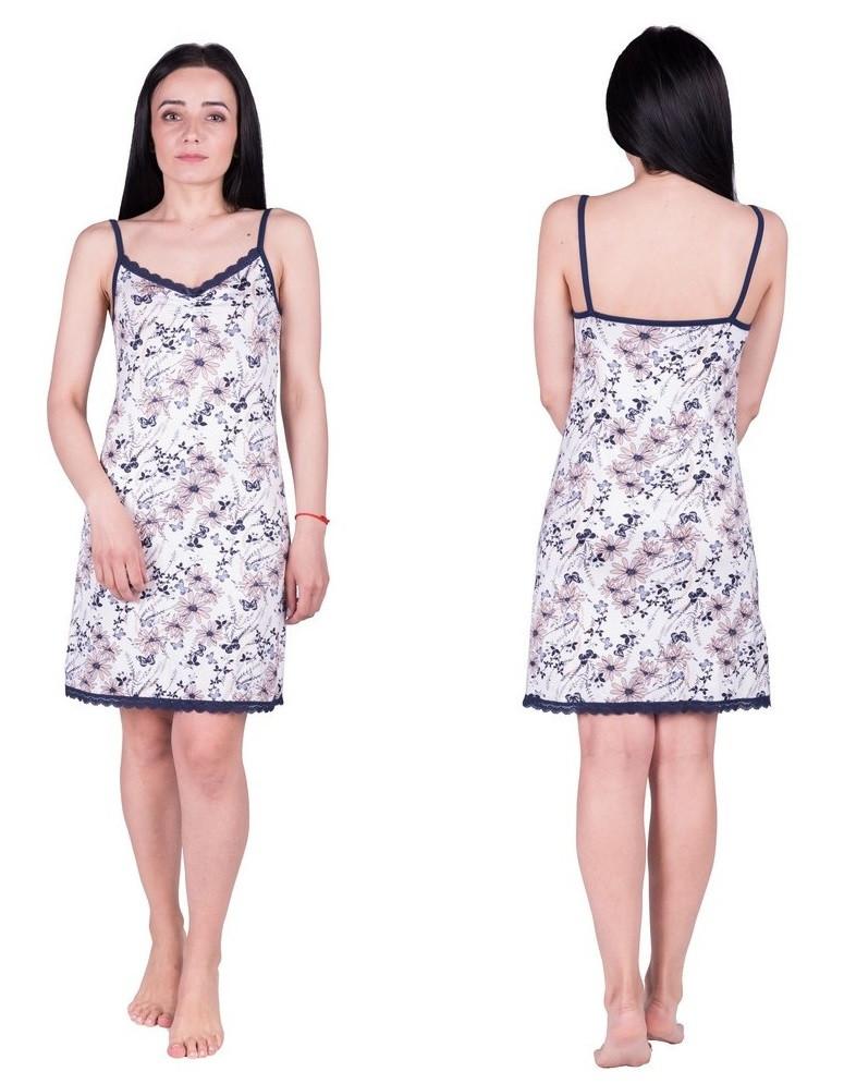 Ночная сорочка женская из вискозы ночнушка трикотажная с кружевом, цветочная