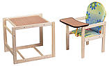 Столик деревянный трансформер. Еko голубой (цветы, Тигра и Винни Пух). Для детей от 6 месяцев., фото 2