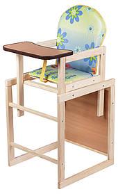 Столик деревянный трансформер. Еko голубой (цветы, Тигра и Винни Пух). Для детей от 6 месяцев.