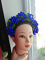 """Обруч-венок на голову """"Гроздья калины: синий яркий"""", фото 1"""