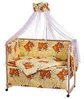 Комплект в кроватку, бортики, защита- рисунок желтый (мишки спят)