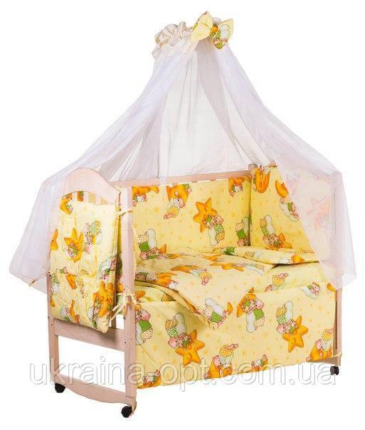 Комплект в кроватку, бортики, защита рисунок желтая (мишки спят, месяц)
