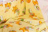 Комплект в кроватку, бортики, защита рисунок желтая (мишки спят, месяц), фото 2