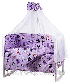 Комплект в кроватку, бортики, защита рисунок сиреневая (черно-белые совы)