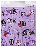 Комплект в кроватку, бортики, защита рисунок сиреневая (черно-белые совы), фото 3