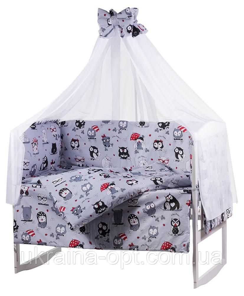 Комплект в кроватку, бортики, защита рисунок серая (черно-белые совы)