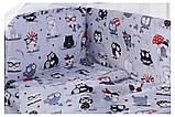 Комплект в кроватку, бортики, защита рисунок серая (черно-белые совы), фото 2