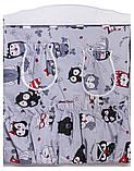 Комплект в кроватку, бортики, защита рисунок серая (черно-белые совы), фото 3
