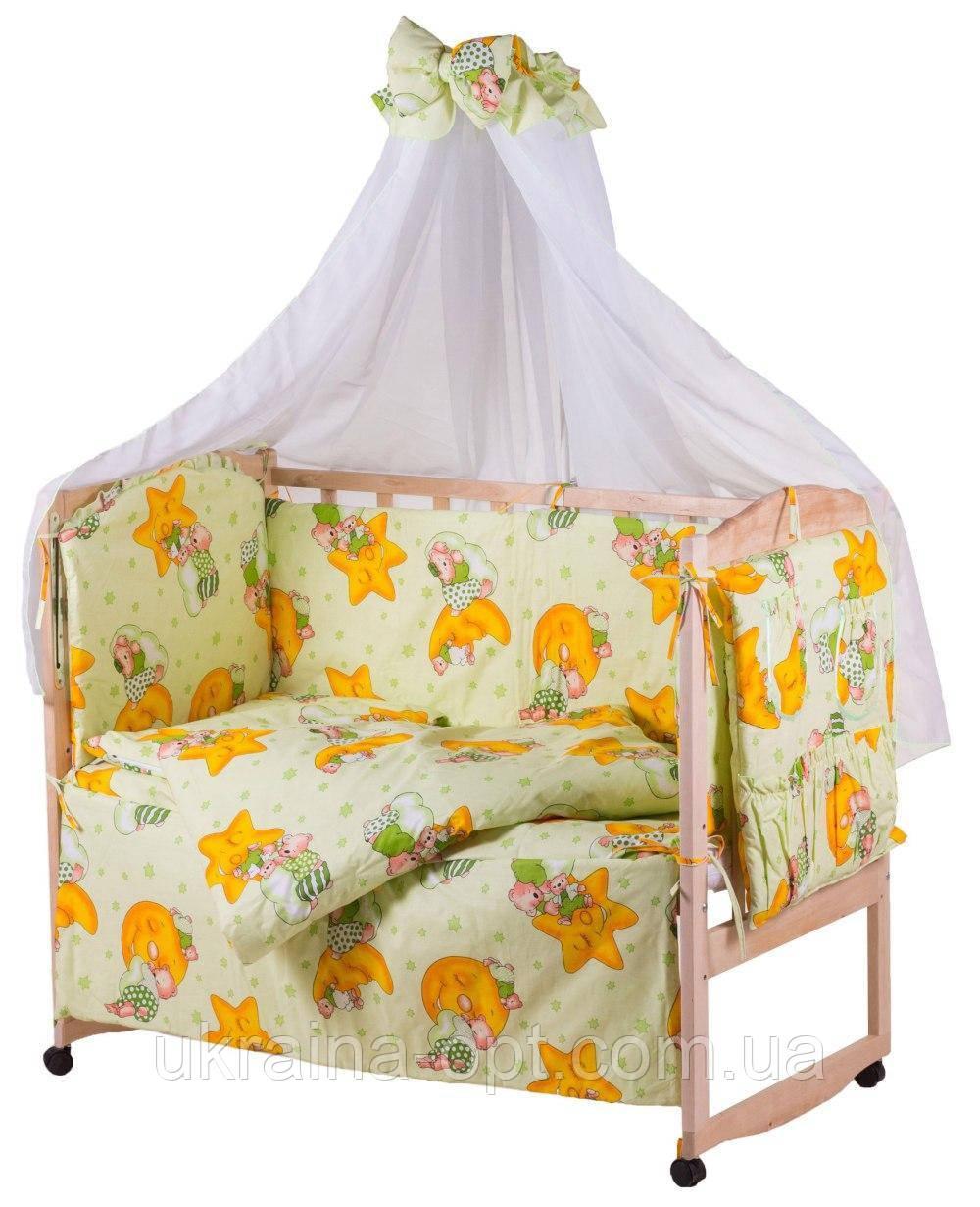 Комплект в кроватку, бортики, защита- рисунок салатовая (мишки спят, месяц)