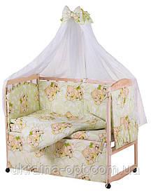 Комплект в кроватку, бортики, защита- рисунок салатовая (мишки спят)