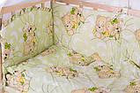 Комплект в кроватку, бортики, защита- рисунок салатовая (мишки спят), фото 2
