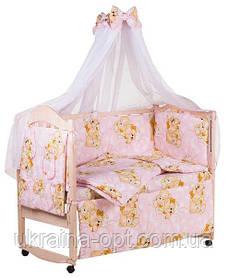 Комплект в кроватку, бортики, защита- рисунок розовая (мишки спят)