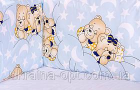 Захист у ліжечко, бортики, захист - блакитний (ведмедики сплять)
