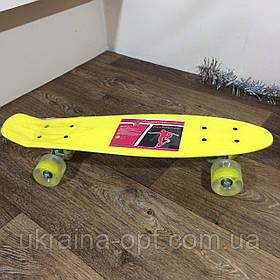 Скейтборд пенни желтый с Led Profi MS. Скейт с светящимися колесами