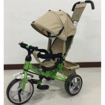 Детский трехколесный велосипед Tilly Trike (T-343 БЕЖЕВЫЙ+ЗЕЛЕНЫЙ) колесами Eva Foam