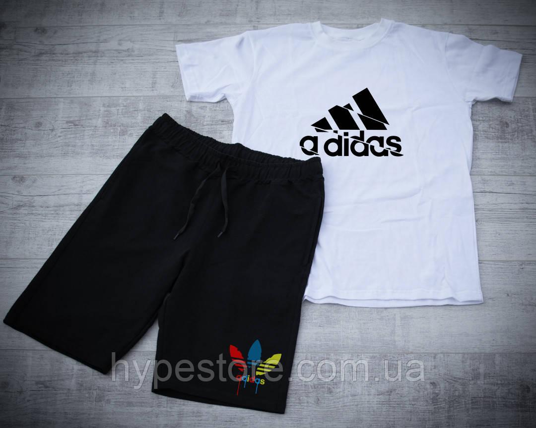 Мужской летний спортивный костюм, шорты+футболка, чоловічий спортивний костюм Adidas, Реплика
