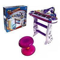 Детский синтезатор с подставкой и стульчиком. Микрофон. Мелодии. Функция записи звука и прослушивания. 7235