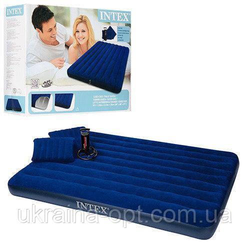 Надувной матрас. 203х152х22 см. С  подушками и насосом. Intex 68765