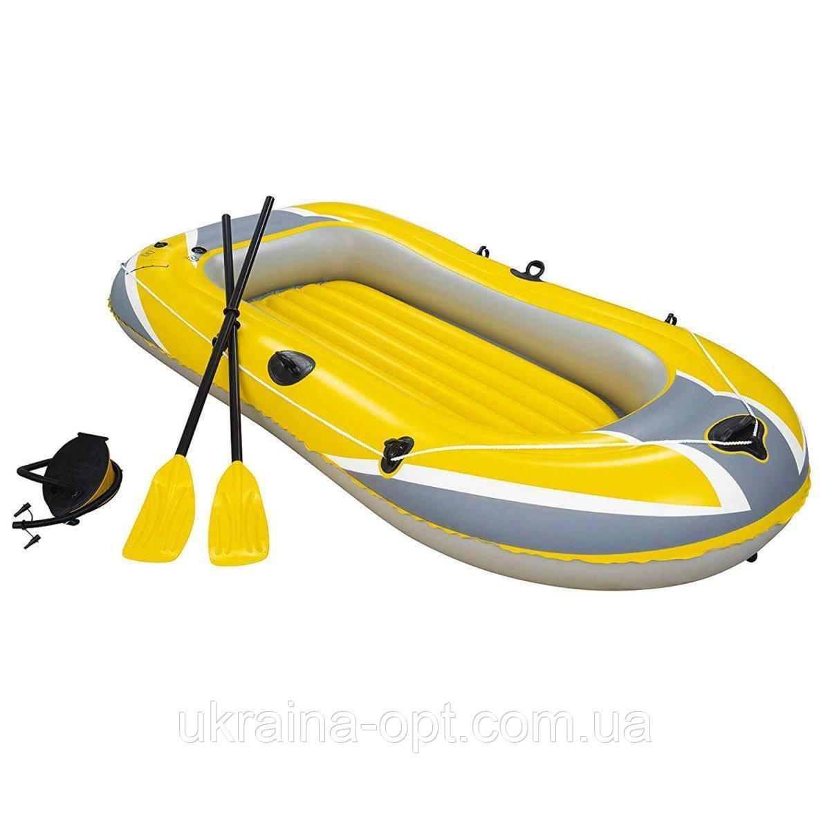 Надувная 2-х местная виниловая лодка. Размер 234х135 см. Нагрузка 190 кг. Bestway 61083 Hydro Force
