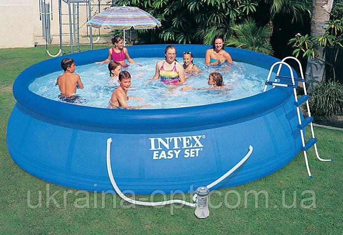 Надувной бассейн. Диаметр 457 см. Высота 122 см. 3-х слойный. intex 26168 Easy Set