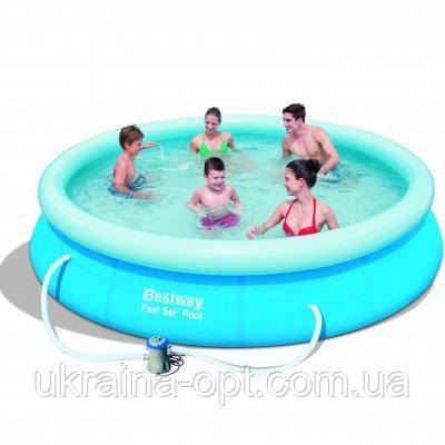 Надувной бассейн с насосом. Диаметр 366 см. Высота 76 см.  57274 Bestway Fast Set