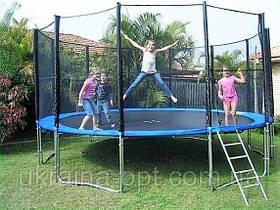 Батут для детей и взрослых 305 см. Нагрузка 210 кг. с защитной сеткой и лестницей