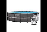 Каркасный бассейн Диаметр: 610 см высота: 122 см. Объем 30079 л. Фильтр.  Intex 26334, фото 3