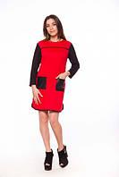 Платье Stereotip Платье с карманами и кожаными вставками Stereotip пт37 XL Красный SKU_пт37