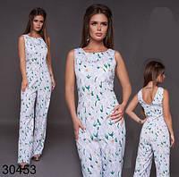 Модный белый летний комбинезон с цветочным принтом р.S-XL