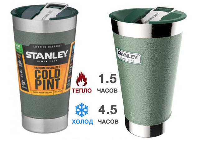 Термостакан зеленый Stanley (Стенли) 0,47L Classic Cold Pint (10-01704-002)