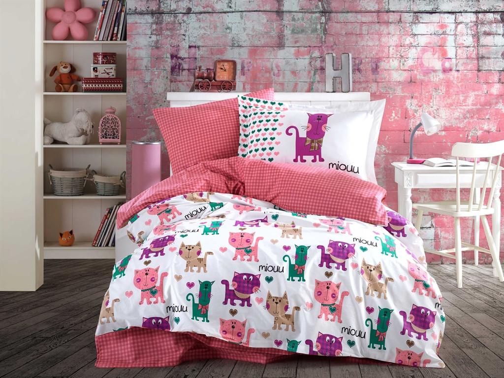 Постельное белье 160х220 HOBBY Поплин Miouu розовый