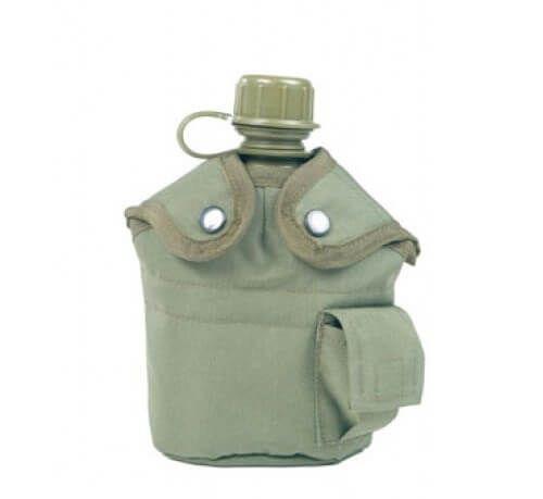 Армійська фляга з підсклянником USA Mil-tec в чохлі (1 L) Olive 14506001