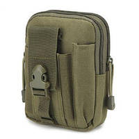 Тактическая универсальная (поясная) сумка - подсумок Mini warrior с системой M.O.L.L.E Olive (с001)