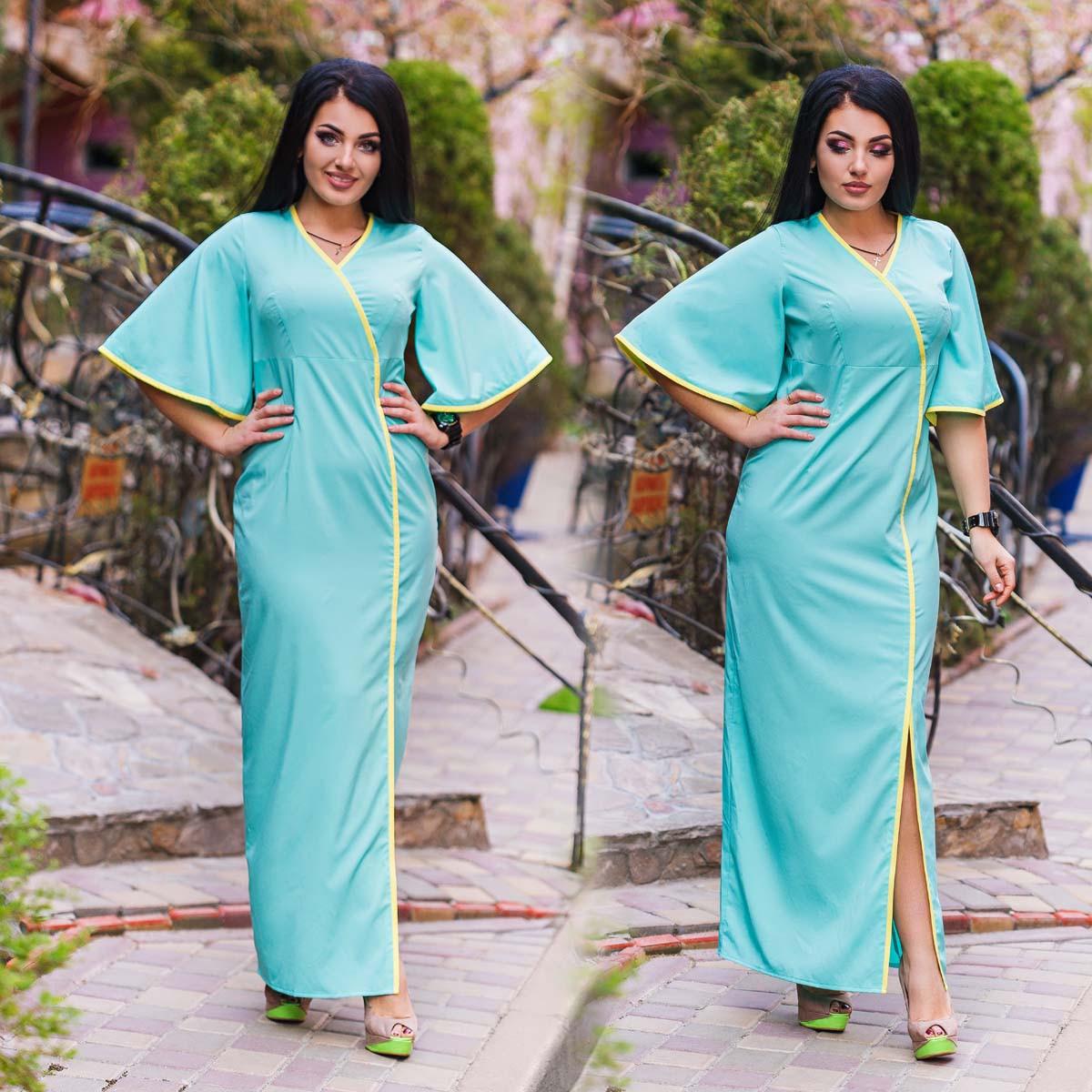 """Элегантное летнее длинное платье в больших размерах """"Гейша"""" в расцветках (DG-ат 1140)"""