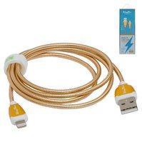 USB дата-кабель KingYou KL-30, USB тип-A, Lightning, 110 см, 2,1 A, золотистый