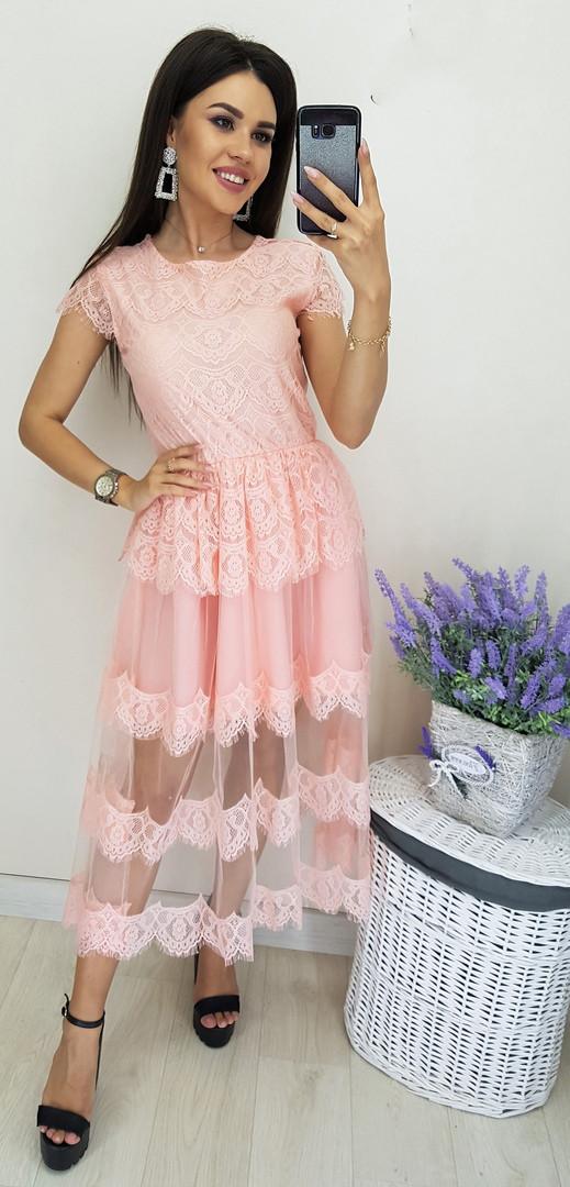 Платье женское длинное из кружева с фатиновой подкладкой (К28092)
