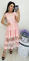 Платье женское длинное из кружева с фатиновой подкладкой (К28092), фото 1