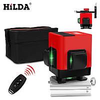 !ЗЕЛЕНЫЙ ЛУЧ + ПУЛЬТ! Лазерный уровень Hilda 3D 12 линий, лазерний рівень