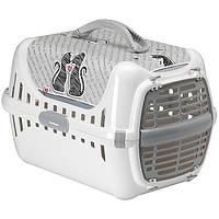 Moderna Trendy Runner Cats In Love МОДЕРНА ТРЕНДИ РАННЕР переноска для котов c пластиковой дверцей, 49х32х30 см белый   51Х31Х34 см.