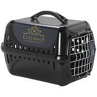 Moderna Trendy Runner Luxurious Pets МОДЕРНА ТРЕНДИ-РАННЕР – переноска для кошек c металлической дверцей и замком IATA черный   49,4Х32,2Х30,4 см